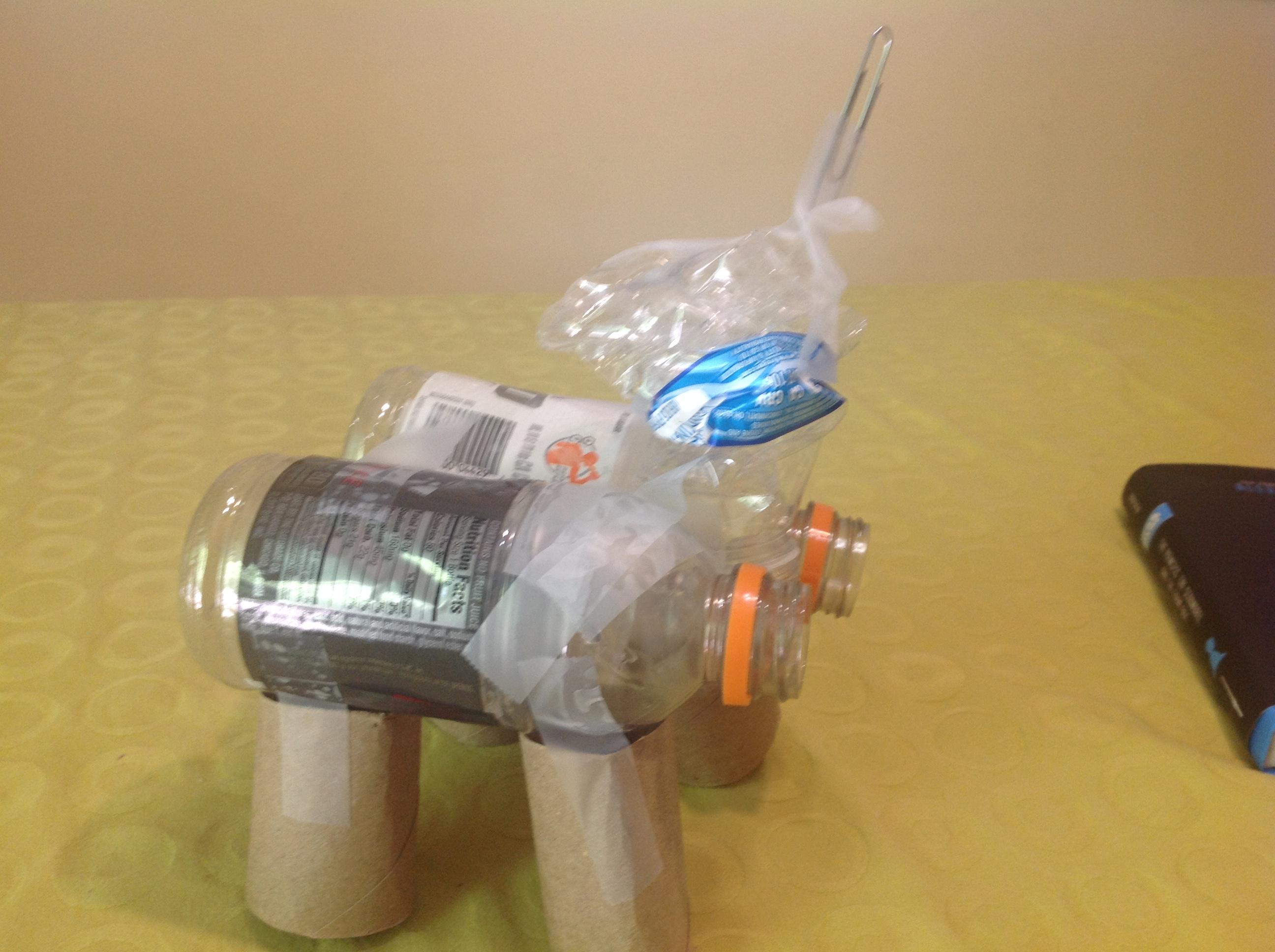 unicorn made out of recycled material